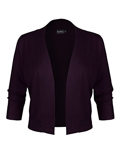 Acne Cardigan (BBP Classic 3/4 Sleeve Open Front Cropped Bolero Cardigan Dark Purple XL)