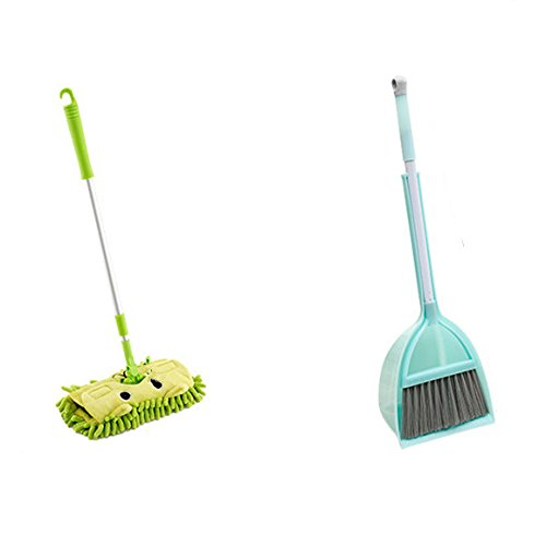 Xifan Mini Housekeeping Cleaning Tools for Children,3pcs Include Mop,Broom,Dustpan (Green Mop+Frash Blue - Mop Green Blue