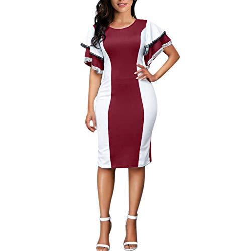 Jialili Women Evening Dress Elegant Ruffle Sleeve Layered O-Neck Lace Plus Size (M,Red)
