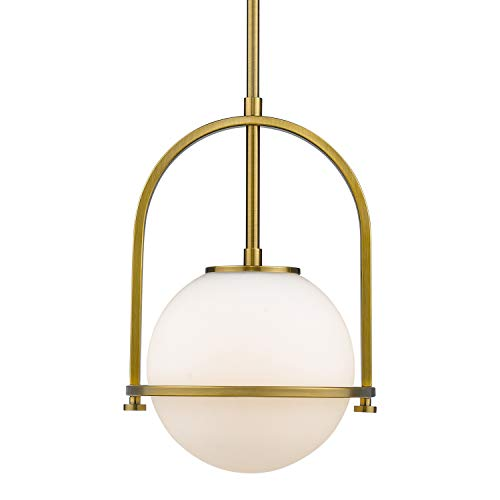 LED Modern Glass Globe Pendant Light, LMS(2019 New Design)Vintage Modern Round Brushed Brass Ceiling Hanging Lights Fixtures with White Glass Lampshade for Dining Room (Bulbs 14W Included)