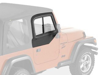 Bestop 51787-15 Black Denim Upper Door Slider Set for 1997-2006 Wrangler TJ - Front - Bestop Replacement Windows