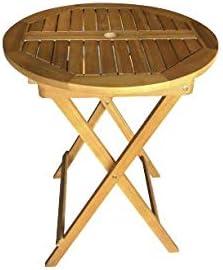 Aktive 61028 – Tavolo rotondo pieghevole in legno di acacia D60 cm Garden
