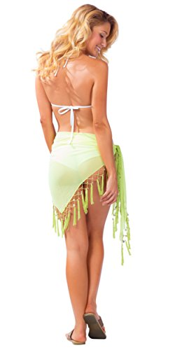 1 World Sarongs Pareo Transparente para Mujer en diversos colores para escoger Verde Lima