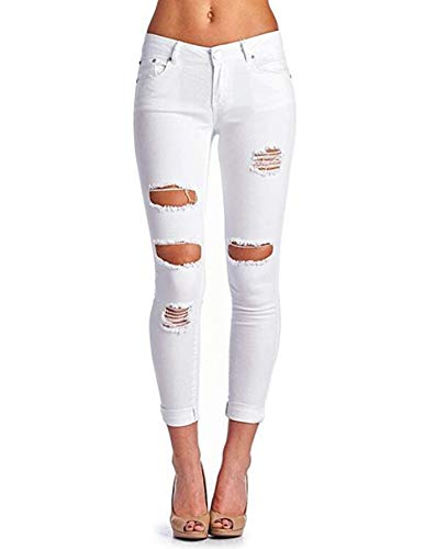 's Hight Waisted Butt Lift Stretch Ripped Skinny Jeans Distressed Denim Pant White 14 ()