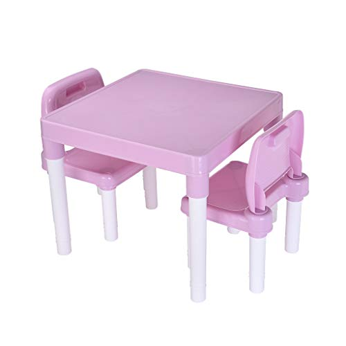 ♔MiaoC Kids Table and 2 Chairs Set, Toddler Desk, Reading Writing Study Table Plastic Kids Table and 2 Chairs Set, Set for Boys Or Girls Toddler
