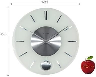 Unek Goods NeXtime Stripe Pendulum Round Wall Clock, Battery Operated