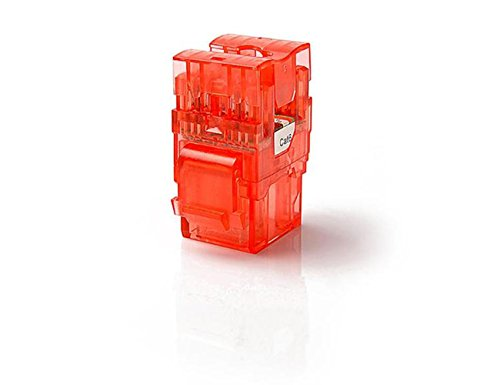 CAT6 RJ45 Transparent Unshielded Keystone Jacks Module for Faceplate & Wall Box & Patch Panel, 12pcs/pack (Red)
