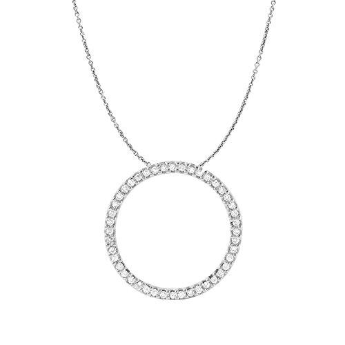 0.33 Carat Natural Diamond 10K White Gold Circle Pendant Necklace for - Pendant Circle Gold White