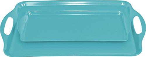 Calypso Basics Rectangular and Tidbit Serving Tray Set, Turquoise ()