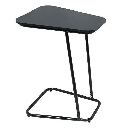 Cgeolhni Study Desk Laptop Table C-Shape Snack Table Bedside Computer Desk Metal Slats Snacks and Laptop Tray (Black)