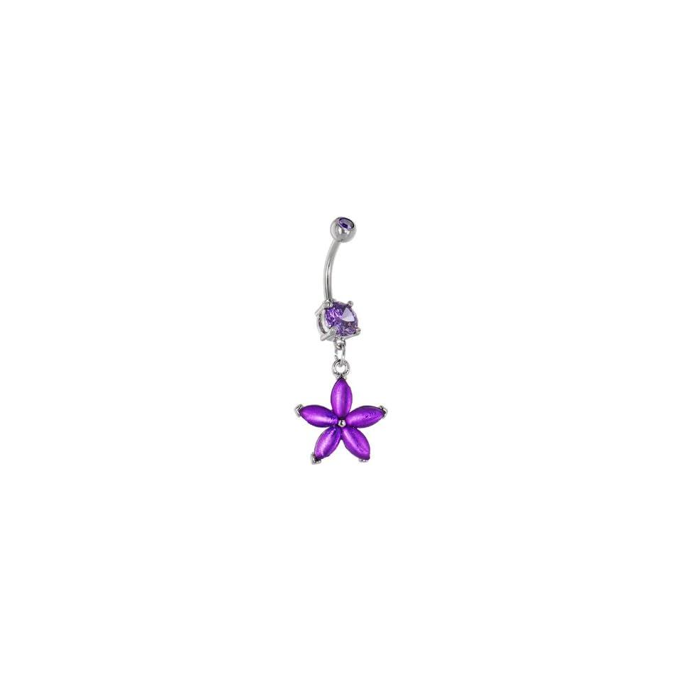 Purple Amethyst Gem Vibrant Lily Belly Ring
