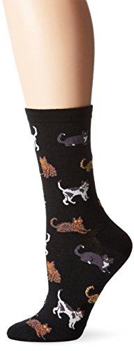 Hot Sox Women's Originals Classics Novelty Crew Socks, Cats (Black), Shoe Size: 4-10