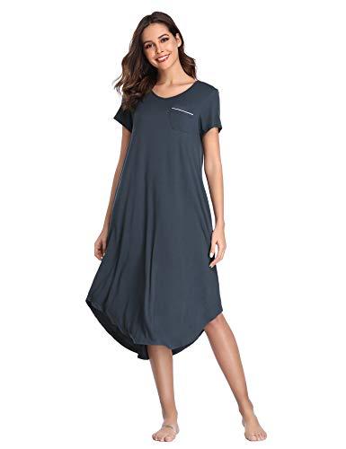 (Lusofie Womens Sleepshirts Short Sleeve Night Gown Soft Loungewear with Pockets (Grey, S))
