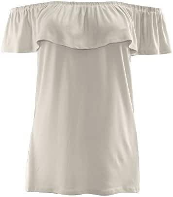 ALL FOR YOU Women's Off Shoulder Flounce Sleeve Blouse Made in USA