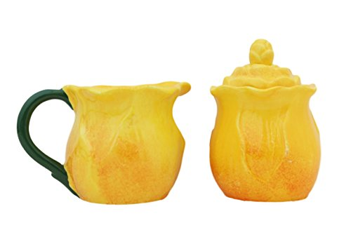 Ruffle Yellow Flower, 2-Pieces, Creamer & Sugar Set,86632 BY ACK.