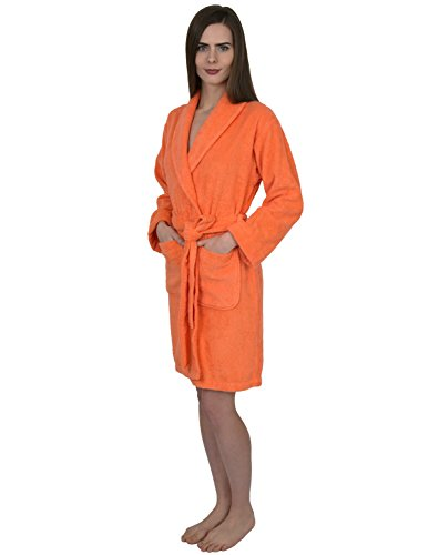 TowelSelections Womens Short Terry Bathrobe Turkish Cotton Robe X-Large Persimmon (Orange Robe)