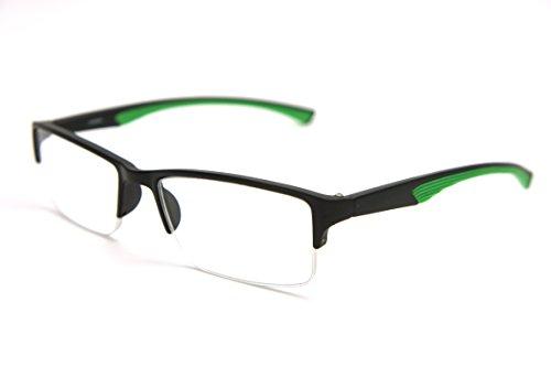 ColorViper 6904 Semi-Rimless Flexie Reading Glasses NEW COLOR (GREEN, 2.75)