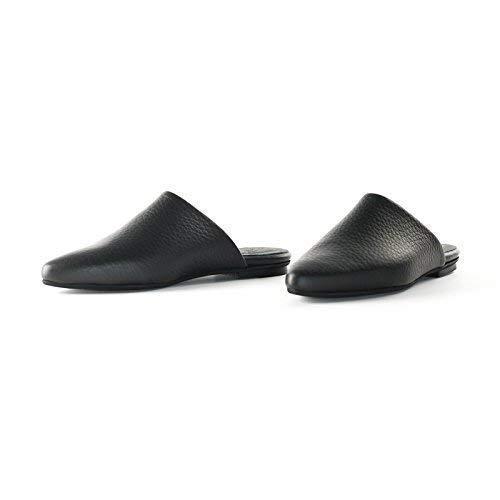 b79bb9b35c35f Amazon.com: Black Textured Italian Leather Flat Mules Featuring Slip ...