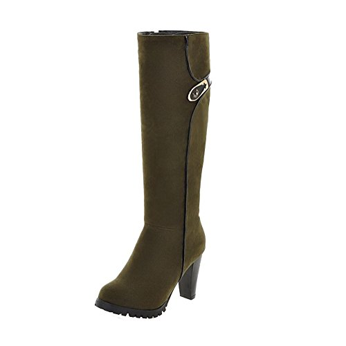 AllhqFashion Women's Zipper High-Heels Imitated Suede Solid High-top Boots, Armygreen, - Mall Hill Stores Green