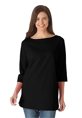 Women's Plus Size Perfect Boatneck Tee Black,L