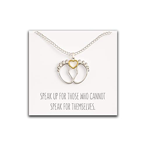 Happy Kisses Baby Feet Necklace with Heart - Cute Charm Pendant with Pro Life Message Card – Gold and Silver Finish