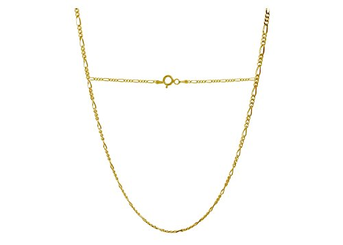 18 Karat Solid Yellow Gold Figaro Link Chain Necklace - 3+1 Link - Made In Italy- ()