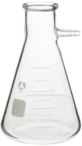 American Educational 7-880500-A Filtering Flask, Bomex Brand Clear Borosilicate Glass, 500mL Capacity Flask Side Arm