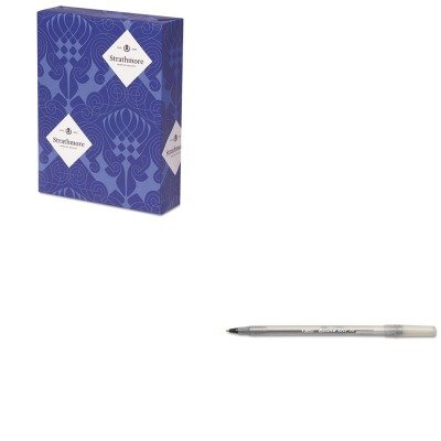 KITBICGSM11BKSTT318153 - Value Kit - Strathmore 100% Pure Cotton Business Stationery (STT318153) and BIC Round Stic Ballpoint Stick Pen (BICGSM11BK) by Strathmore