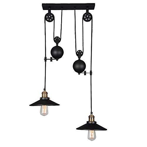 - XAJGW Westinghouse Lighting Industrial Iron Hill Three-Light Indoor Island Pulley Pendant, Oil Rubbed Bronze Finish (Size : Double Head)