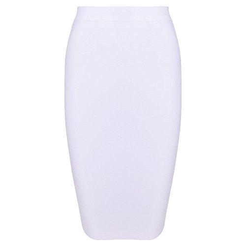 HLBandage Knee Length Rayon High Waist Women Bandage Skirt Blanc