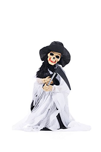 Animated Grim Reaper Death Skeleton Scythe Figurine Halloween Party Decorations (White, (Make Halloween Animatronics Props)