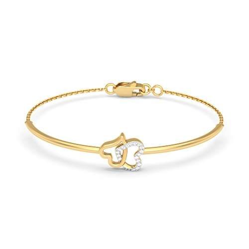 14K Or jaune, 0.099CT TW Round-cut-diamond (Ij  SI) Identification-bracelets