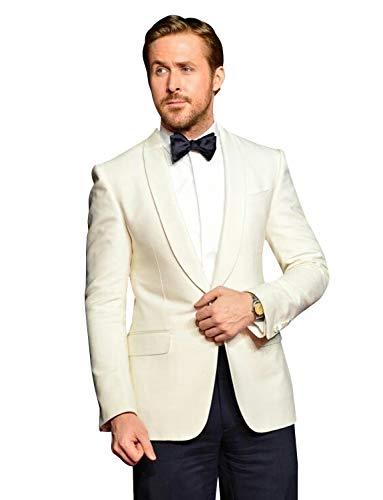 Wool Jacket Ivory Blend (YZHEN Men's Slim Fit 2 Piece Shawl Lapel Suit One Button Blazer Tux Vest & Pants Ivory)