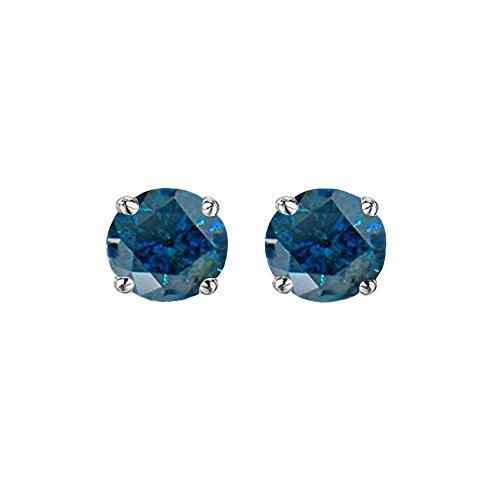 Dazzlingrock Collection 0.25 Carat (ctw) 10K Round Cut Blue Diamond Ladies Stud Earrings 1/4 CT, White Gold 1/4 Carat Blue Diamond Solitaire