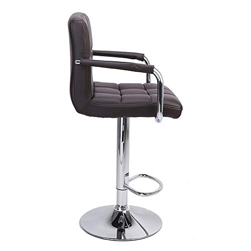 Nual_shop 2 PCS Swivel Leather Chair Adjustable Bar PU Stools Office with Armrest Coffee by Nual_shop (Image #2)