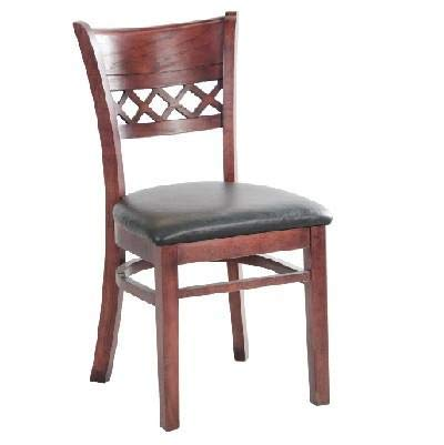 - MK6230 Lattice Back Side Wooden Chair with Dark Mahogany Finish