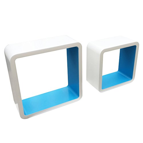 Homewell Set Of 2 Kids Shelves, Decorative Cube Wall Mounted Floating Shelves Kids Room, Storage Display Rack Kids, White+Blue. by Homewell