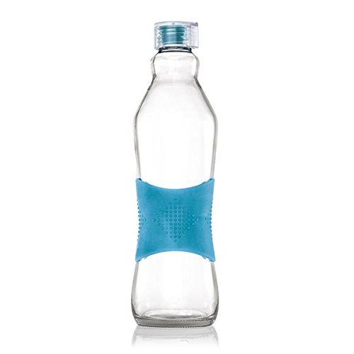 Consol Large Glass Water Bottle – Classic Coke Bottle Design With Non-Slip Stylish Silicone Sleeve | Perfect for Milk, Tea, Juicing, Smoothies, Cold Brew, Kombucha & All Beverages (Turquoise) (Water Turquoise Glasses)