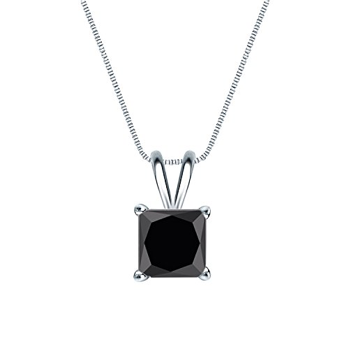 14k White Gold 4-Prong Basket Princess-cut Black Diamond Solitaire Pendant (2 cttw, -