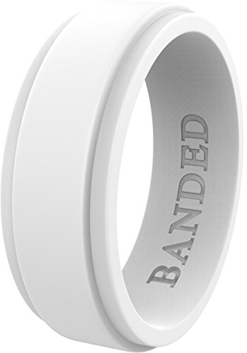 Lightweight White Ring - BANDED GLORY Silicone Wedding Ring for Men, Rubber Wedding Bands, Step Edge Design, Wide White 8