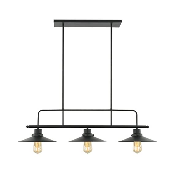 """Light Society Margaux 3-Light Kitchen Island Pendant, Matte Black, Vintage Modern Industrial Chandelier (LS-C114) - DIMENSIONS: Overall 10.25""""W x 37""""L x 60""""H. Shade 10.25""""W x 37""""L x 8.5""""H. Ceiling Canopy 4.75""""W x 19""""L x 1""""H ADJUSTABLE HEIGHT: 50""""H fully adjustable rods ( includes two 6"""", two 8"""" and six 12"""" rods). This chandelier is hardwired, installation required. BULB REQUIREMENTS: Uses 3 medium-base (E26) light bulbs. Works with incandescent, LED, CFL, halogen or wifi enabled and color changing bulbs (60W max, sold separately). Fully dimmable when used with dimmable bulbs and a compatible dimmer switch (not included) - kitchen-dining-room-decor, kitchen-dining-room, chandeliers-lighting - 31Chy2imGwL. SS570  -"""