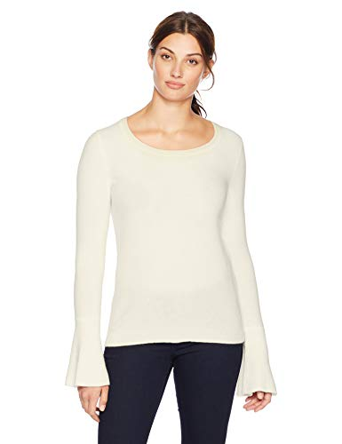Lark & Ro Women's Sweaters Crewneck Cashmere Sweater with Flute Sleeves, Ivory, Medium