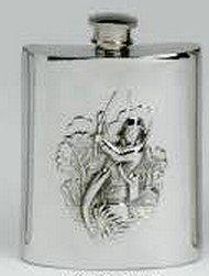 4 oz Flasque estampé scène de pêche en étain anglais fine Livrée avec une boîte prideindetails Réf 30244