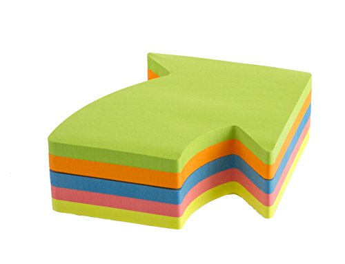Kores Fantasy Sticky Notes Arrow Shaped, 5 Neon Colours, 70 x 70 mm, 250 Sheets