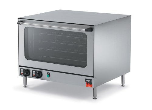 Vollrath Cayenne Convection Oven, counter top, electric, 150°F - 570°F, timer, broil & bake function, (4) non-tip steel wire shelves fit (4) 1/2 size sheet pans, double wall insulated, removable shelf runners, cool touch doors, stainless steel construction, NEMA 6-15P, 2.4 kw, 230v/60/1-ph, 11 amps, ETL, NSF, model# COA8004, 40701