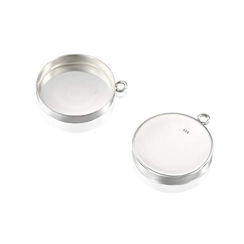 - 2 Pcs 18mm Round Setting with 1 Loop 925 Sterling Silver Bezel Cup Findings for Pendants Charms Earrings