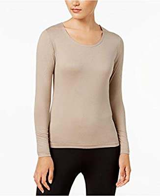 32 DEGREES Cozy Heat Long Sleeve Top, Heather Peach Fuzz, X-Large