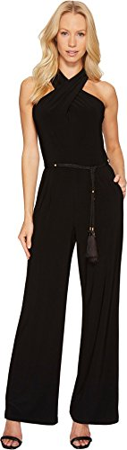 [Tahari by Arthur S. Levine Women's Halter Neck Jersey Jumpsuit with Tie At Bodice, Black, 16] (Halter Jersey Tie)