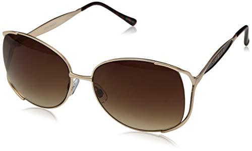 Steve Madden Women's S5610 Oval Sunglasses, Gold Brown, 60 ()