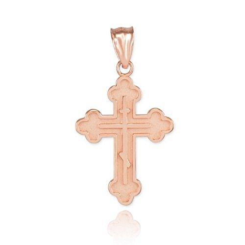 Doré Crucifixes Femme fine de 14K Or rose Charm pendentif croix Orthodoxe orientale